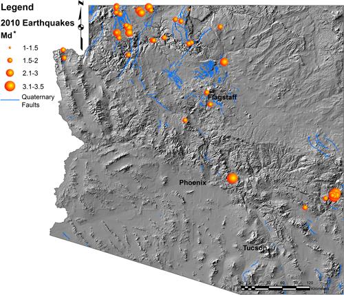 Map Of Arizona Fault Lines.Arizona Geology Online