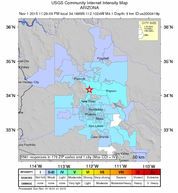 Earthquake in Phoenix