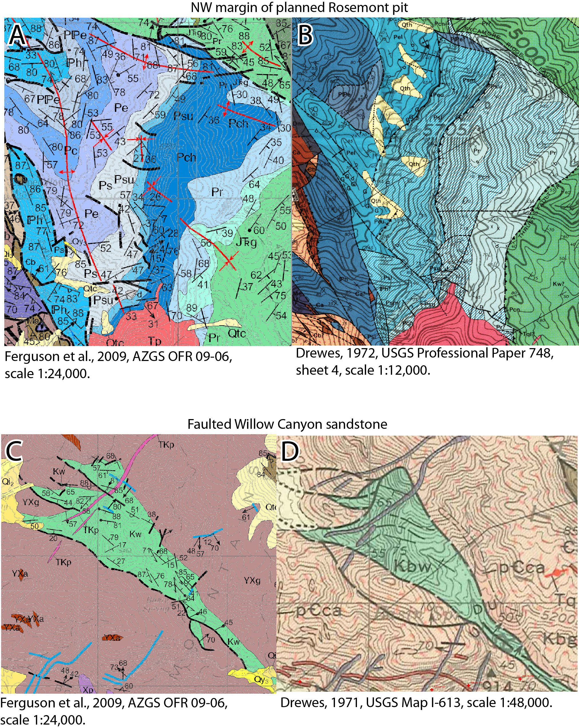 Figure 3. Geologic mapping of parts of the Helvetia 7 ½' Quadrangle by the Arizona Geological Survey (left, from Ferguson et al., 2009) compared to previous mapping by Drewes (right, 1971, 1972).