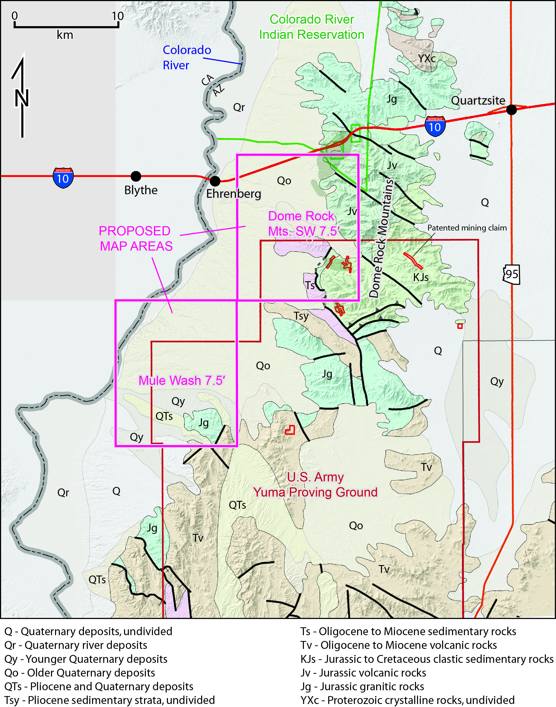 Figure 4. Geologic map of the western Dome Rock Mountains – lower Colorado River Valley area, showing locations of the two 7.5' Quadrangles that will be mapped during the 2014-2015 field season.