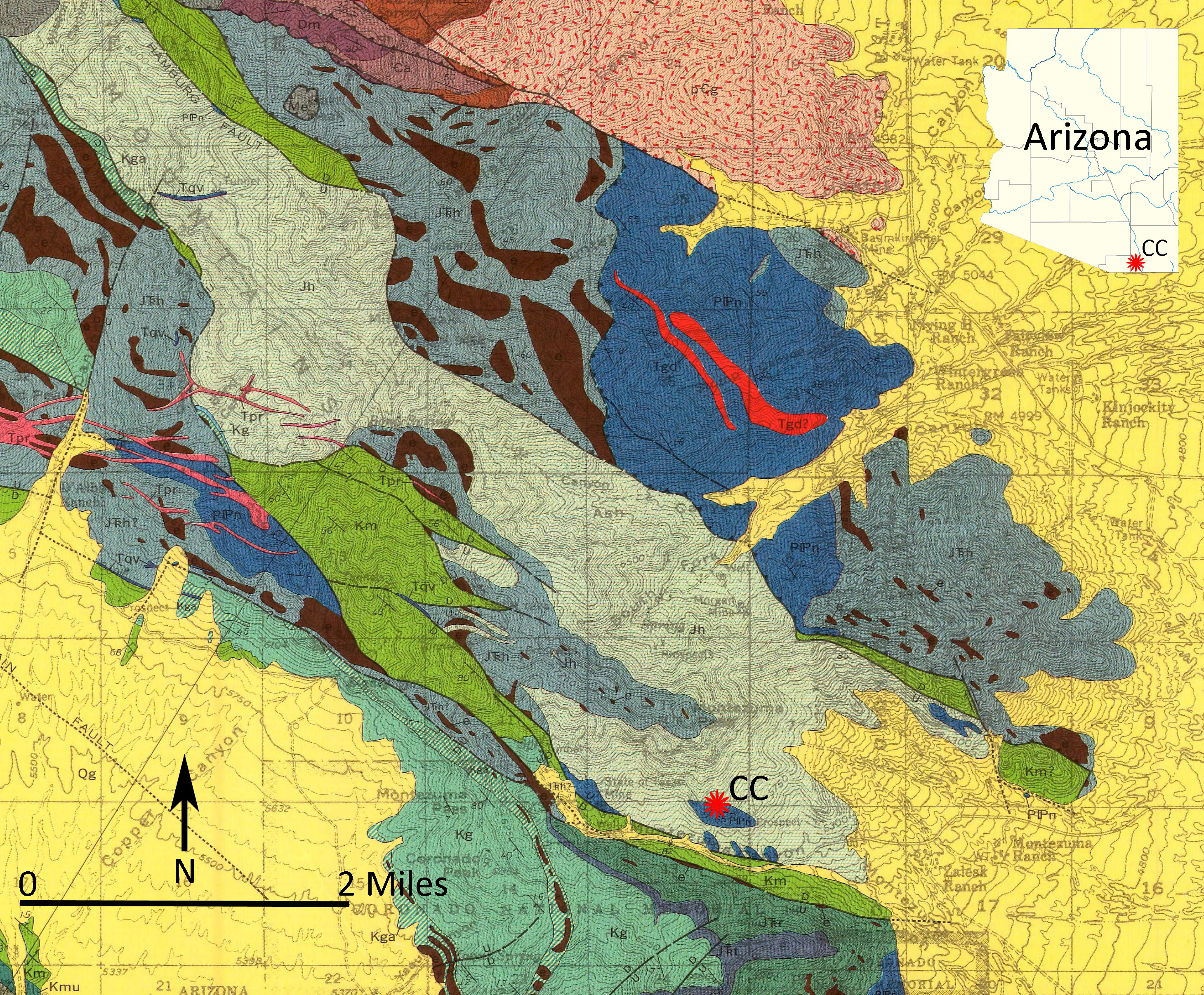 Figure 1: Map showing the geology (Hayes and Raup, 1968) and location of Coronado Cave (CC) in southwestern Cochise County, Arizona.