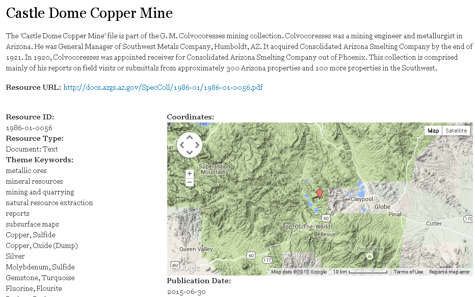 Figure 2. Castle Dome Copper Mine, an example of the presentation of documentation of an individual mine file from the Colvocoresses Collection at the Arizona Geological Survey Mining Data website.