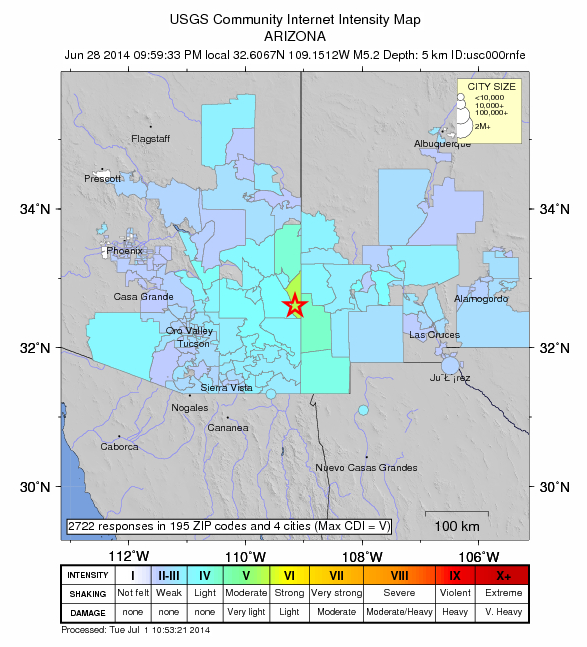 """Figure 2. U.S. Geological Survey (USGS) intensity map for 28 June 2014, M5.3 earthquake south of Duncan, Arizona. Intensity data stems from USGS's """"Did you feel it"""" public survey tool. More than 2,700 people reported the event, from Phoenix in the west to Alamogordo in the east."""