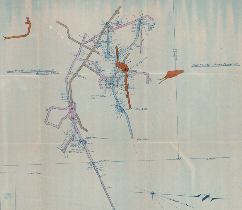 Figure 3. Working map from the Copper Mountain mine file of the Colvocoresses Collection. Copper Mountain is located near Mayer in Yavapai County.