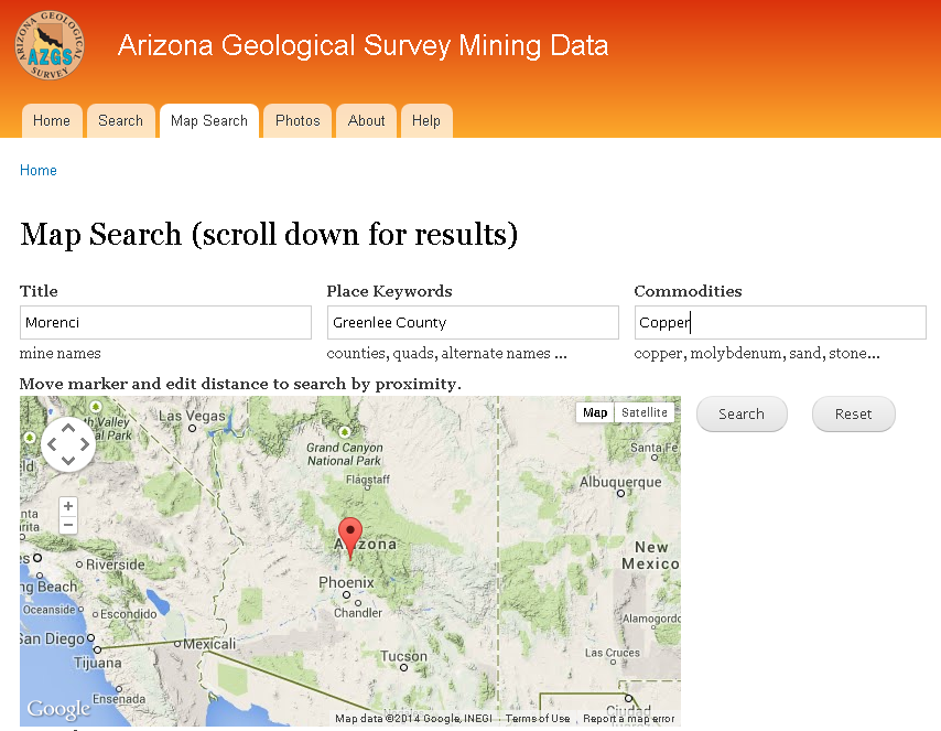 Figure 3. Map Search page at Arizona Geological Survey Mining Data website.