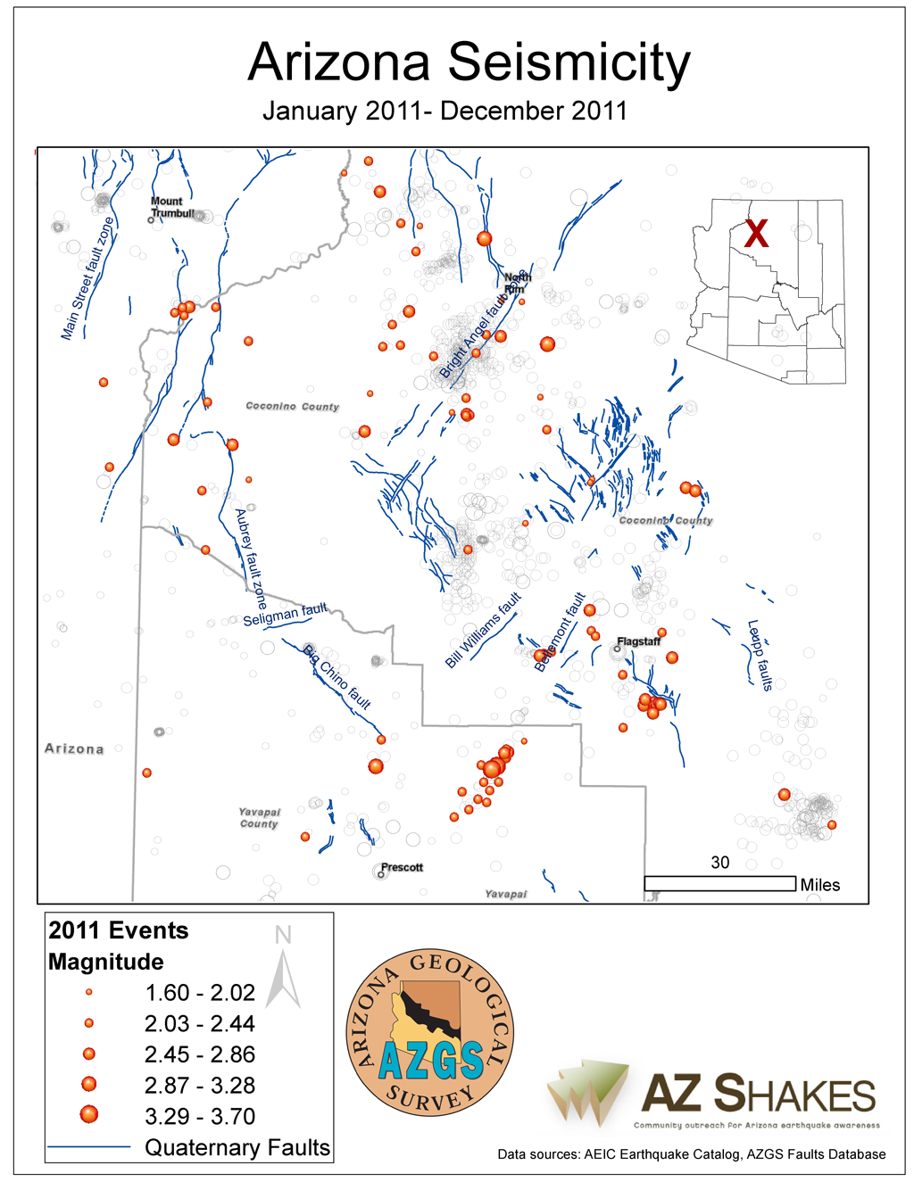 Figure 2 - Closeup of seismicity in Arizona - 2011