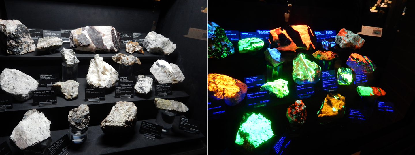 Figure 9. Franklin, New Jersey, fluorescent mineral display. Before and after.