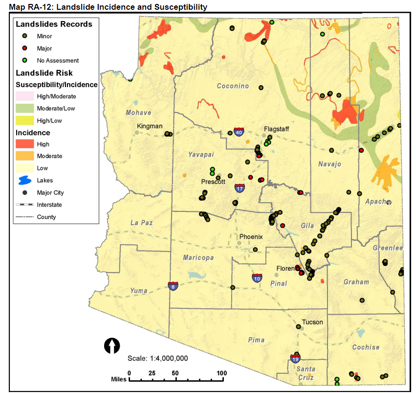 Figure 1. Landslide incidence and susceptibility map for Arizona. The map scale, 1:4,000,000, reflects the limited nature, in both time and space, of this incidence and susceptibility map.