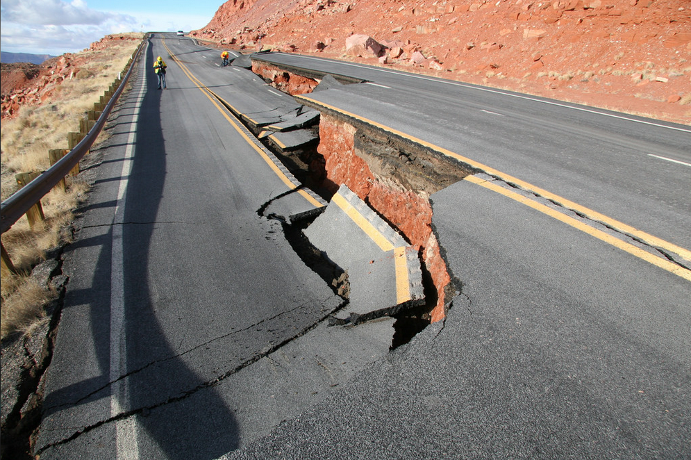 Figure 2. The 150 feet of U.S. Route 89 that collapsed 4- to 6-feet on 13 February 2013. (Photo by ADOT, 20 February 2013, http://azdot.gov/projects/north-central/us-89-landslide/photo-gallery.)