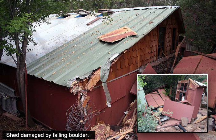 Figure 6. Rockfall damage to outbuilding and hot tub in Oak Creek Canyon, near Sedona, Arizona.