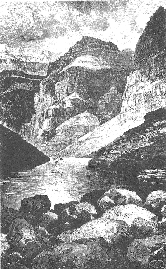 "Figure 1. ""Head of the Grand Canyon,"" a woodcut drawn by Thomas Moran (from Dutton, 1882, p. 212)."