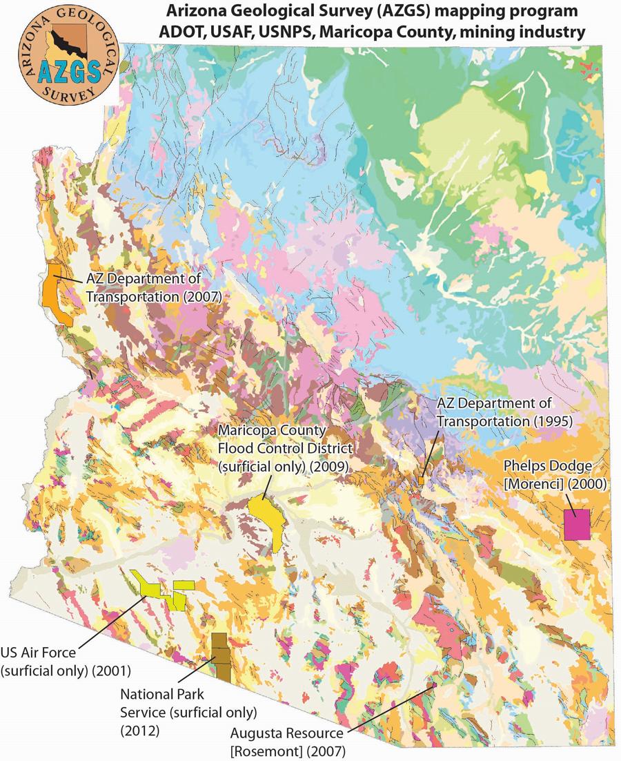 Map Of Arizona Only.The Geological Exploration Of Arizona The Role Of State And Federal