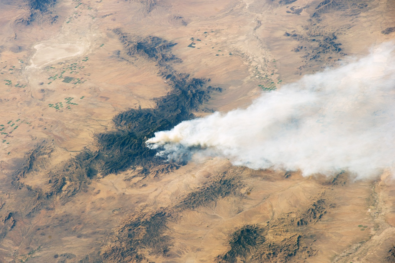 Figure 2: Satellite image of 2011 Horseshoe 2 Fire from May 15th in the Chiricahua Mountains (NASA 2011).  North is to the top of the image.