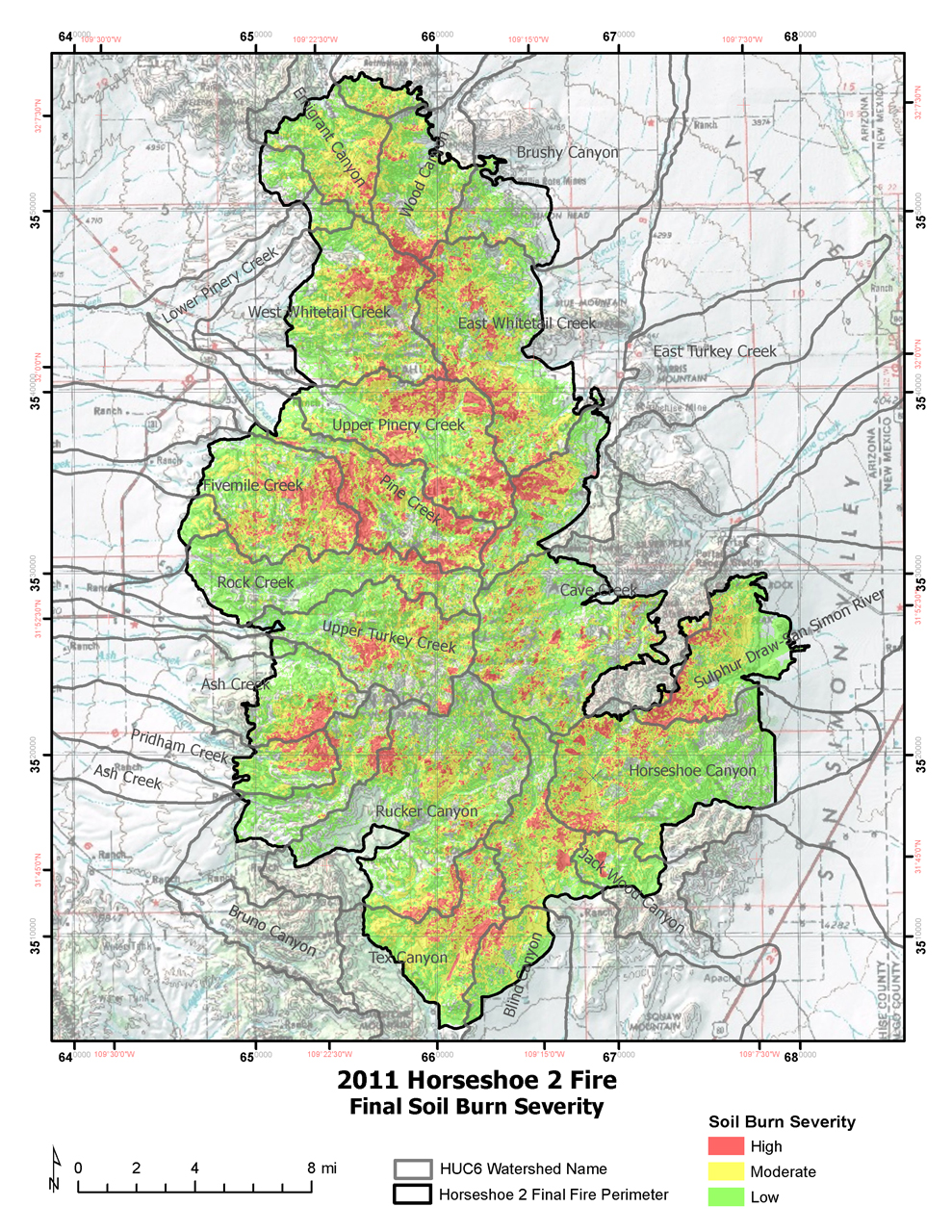 Figure 3: Map of Horseshoe 2 Fire final soil burn severity (Coronado National Forest 2011).