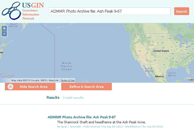 """Figure 2. Search portal at U.S. Geoscience Information Network (USGIN), search.usgin.org. Search can be global or restricted by selecting a spatial """"area of interest""""."""