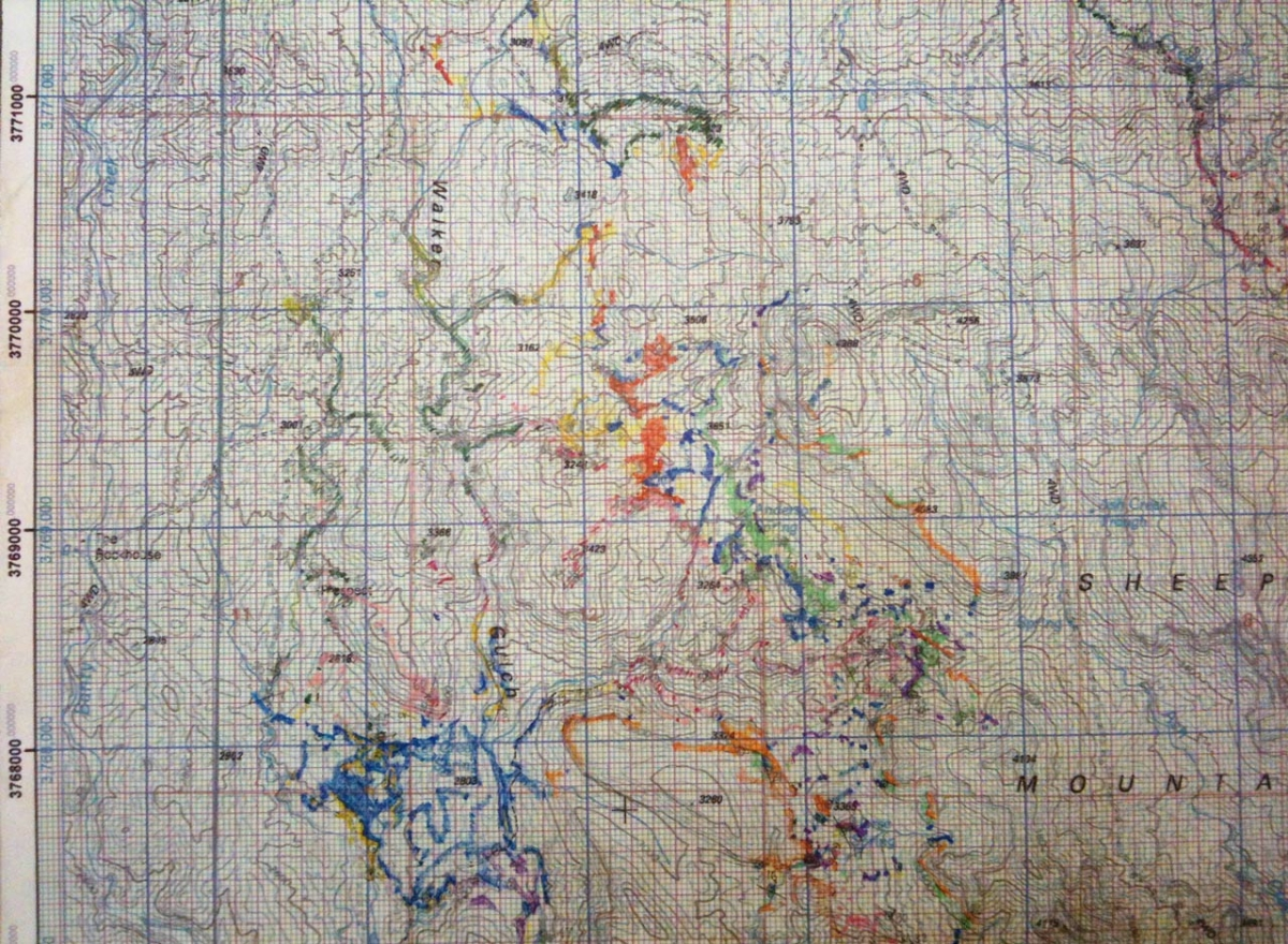 Observations recorded on field sheet. Field sheet is a topographic map with annotations.