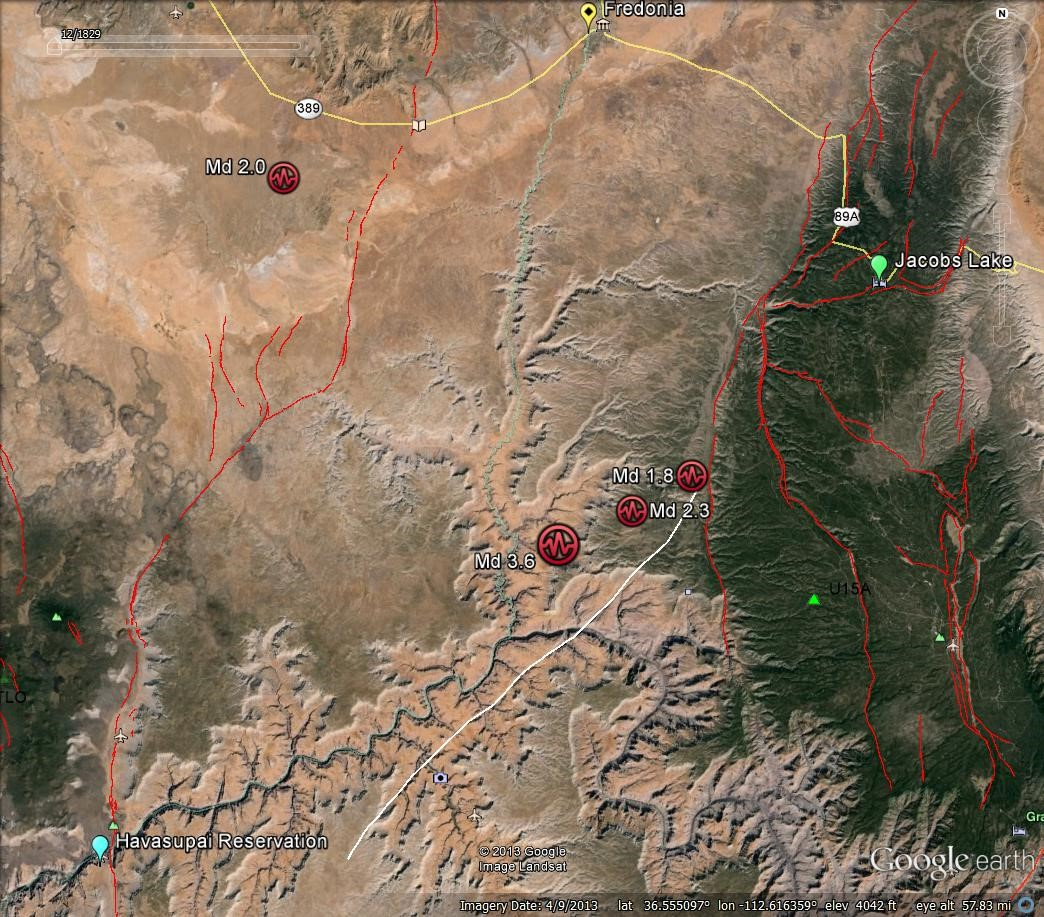 Figure 1: Red circles are the locations of the main and larger aftershocks that occurred on July 7th, 2013. A quake occurred NW of the mainshock. The red lines represent mapped, active faults, and the white line trending to the NE-SW is the Sinyala fault. The green triangle is the approximate location of AZGS' broadband North Rim seismic station.