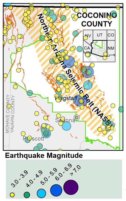 Figure 2: Northern Arizona Seismic Belt (NASB) shaded in gray on the left image and shown striped in orange on the right inset. The inset shows epicenters of historic earthquakes of magnitude 3.0 or greater in the NASB and environs.