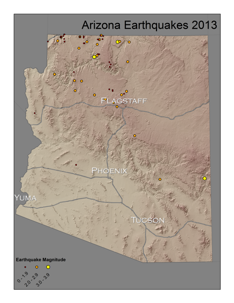 Figure 1: A) Epicenter locations of Arizona earthquakes from January through July of 2013.