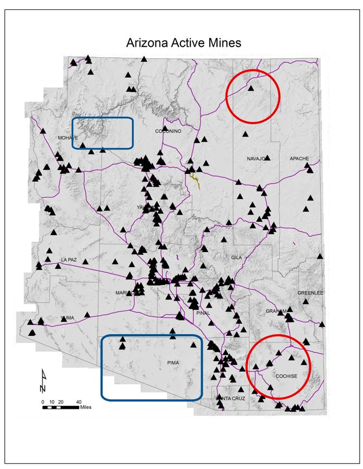 Figure 2: Locations of active mines in Arizona (black triangles). Approximate footprints of seismic monitoring blind spot areas are shown as red circles (related to mining) and blue squares (related to poor station coverage). Arizona county boundaries (light gray) and major roadways (purple) are shown, too.