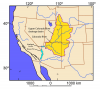 Map of southwestern North America showing the outline of the drainage basin for the upper Colorado River