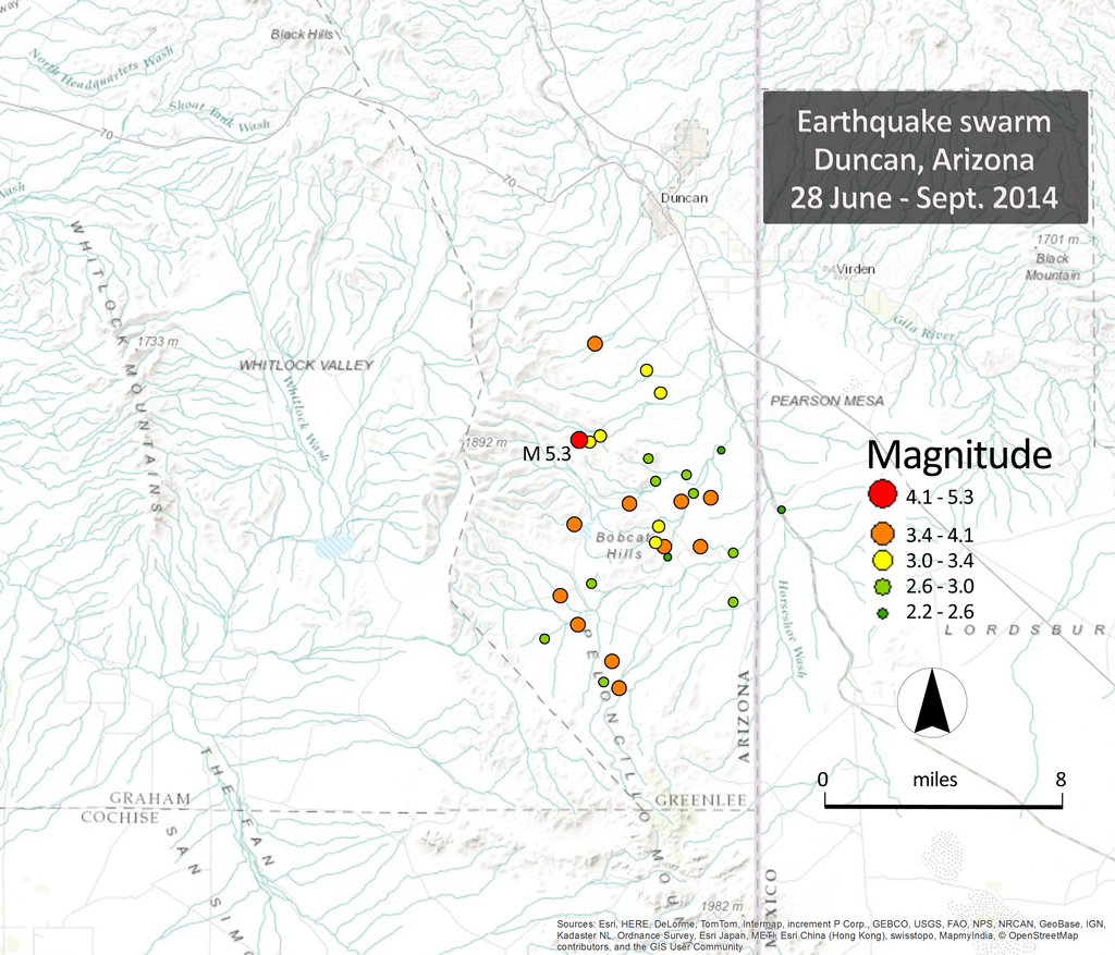 Figure 1. On 28 June 2014, a magnitude (Mw) 5.3 earthquake occurred on the east side of the Peloncillo Mountains, south of Duncan, Arizona. Subsequent aftershocks occurred mainly south, east and north of the main event.