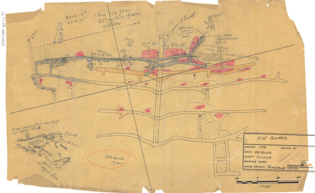 Figure 2. B) Mine workings plan for the Old Guard Mine, Cochise County, Arizona.