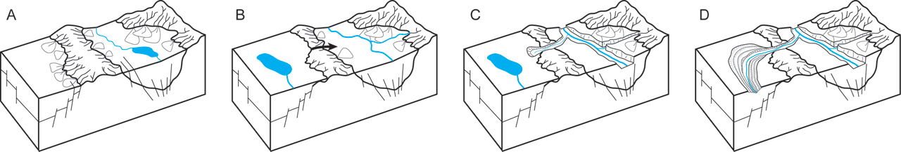 Figure 2. Final stages of the Basin and Range disturbance. (A) Structural basins were filled with sediment, and most basins were still internally drained. (B) Following the cessation of extensional tectonics in the region, basins continued to fill with sediment and faults were buried. Basins began to integrate with the mainstem Gila River via a combination of basin spillover and headward drainage capture. (C) Following integration with an adjacent basin, sedimentary fill was incised as its basin adjusted to a new, lower baselevel. (D) As a new, through-flowing drainage network was established, integrated basins graded to the Gila River. The shift to an oscillating climate in the Quaternary may be preserved in flights of terraces that record alternating periods of floodplain stability followed by rapid incision. Figure adapted from Menges and Pearthree, 1989.