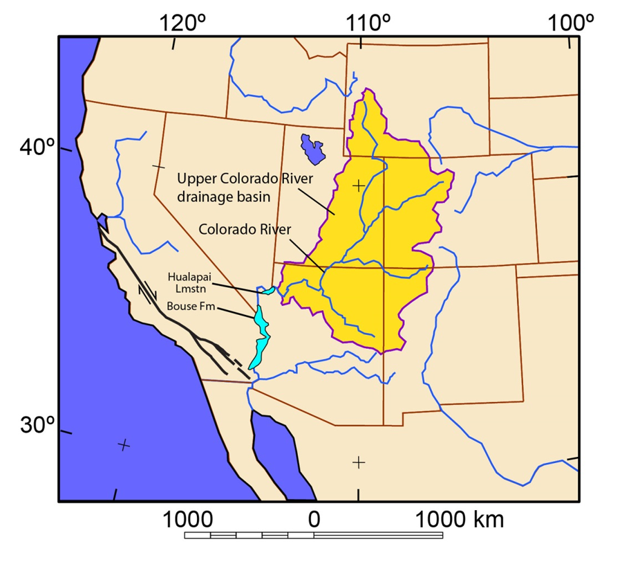 Figure 3. Map of southwestern North America showing the outline of the drainage basin for the upper Colorado River. Before 5 million years ago, water from this drainage basin did not exit the Colorado Plateau at the Grand Wash Cliffs in northwestern Arizona. The Hualapai Limestone was deposited before arrival of Colorado River water, and the 5 million-year-old Bouse Formation was deposited in lakes filled with first-arriving Colorado River water (House et al., 2008; Spencer et al., 2013).