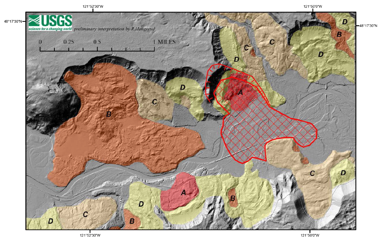 Figure 7. Landslide deposits superposed on LiDAR imagery for the Oso, Washington area (U.S. Geological Survey 2014). LiDAR imagery greatly facilitates identifying and mapping recent landslide deposits.