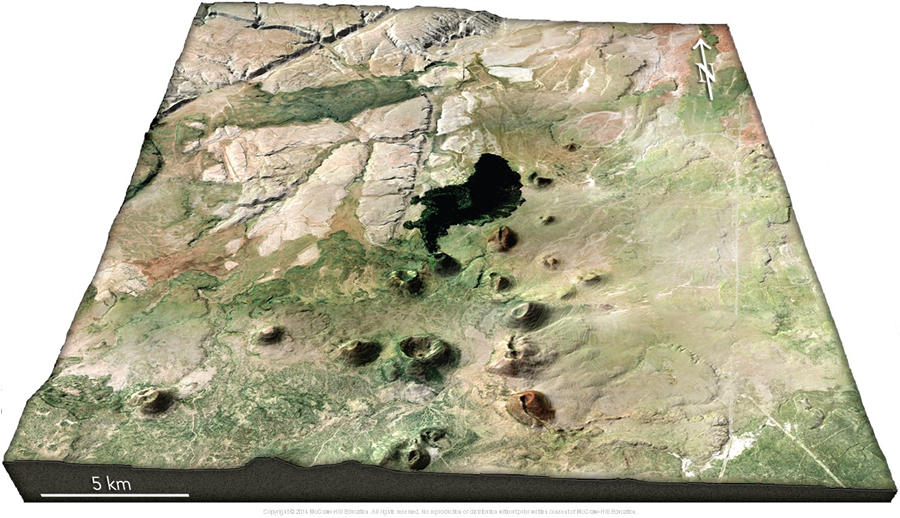 Figure 2: Three-dimensional perspective of the area around SP Crater, north of Flagstaff, Arizona (from Reynolds and others, 2013).