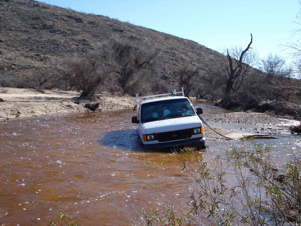 A stuck vehicle, taken in 2010 in eastern Rincon Mountains.