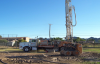 Drill rig used for drilling ground-source boreholes.